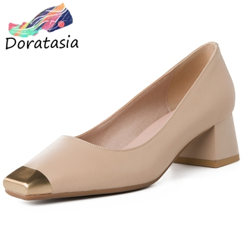 DORATASIA Cow Leather Ladies Pumps Metal Toe Slip On Shallow Casual Pumps Women Square Toe Handmade Office Shoes Woman