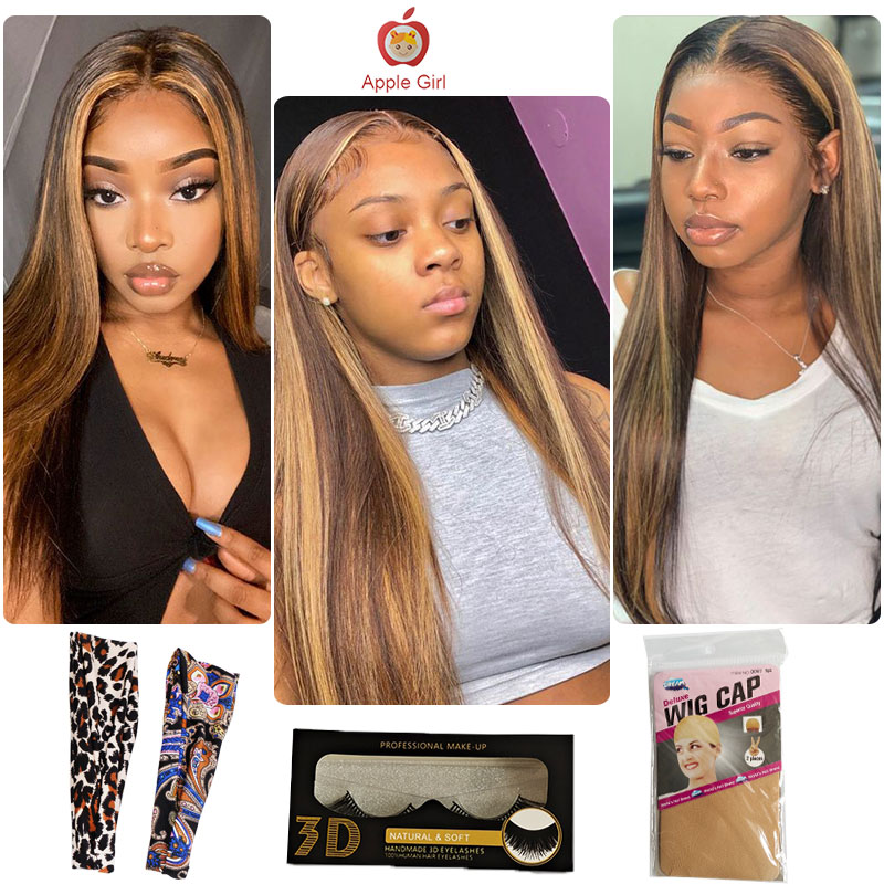 Highlight 3 Bundles With Closure    Bundles With Frontal Colored Applegirl Straight  Hair 4PCS/LOT 6