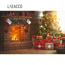 Laeacco Photographic Backdrops Christmas Tree Fireplace Gift Sock Child Portrait Photography Backgrounds Photocall Photo Studio