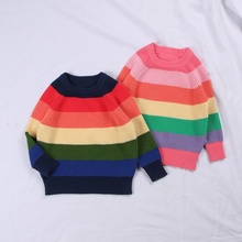 цена на Baby Girls Winter O-Neck Sweater Clothes 2019 Autumn Children Clothing Pullover Rainbow Stripes Knitted Kids Sweaters