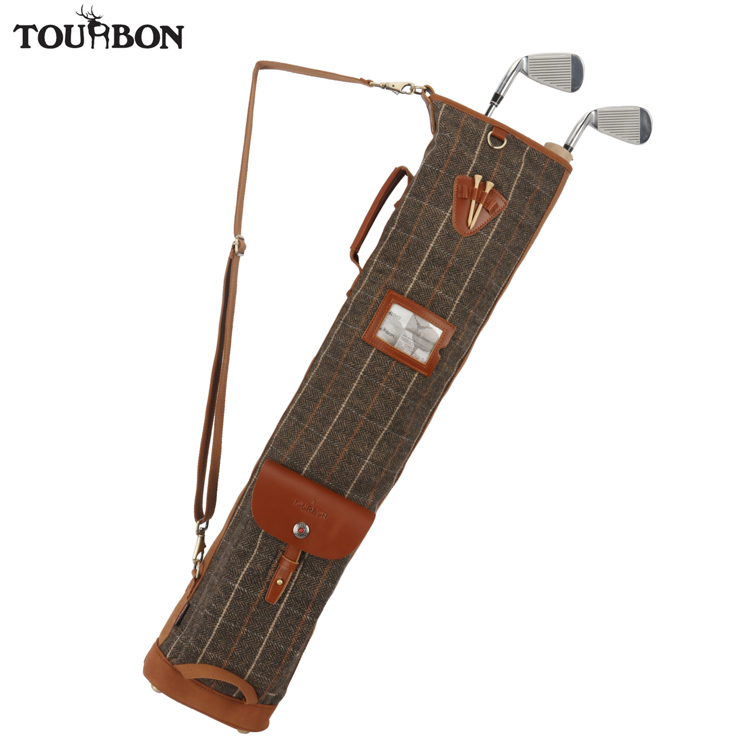 Tourbon Vintage Golf Bag Clubs Carrier Tee Holder Retro Pencil Style Melton Fleece Padded Outdoor Sports Club Cover 86CM