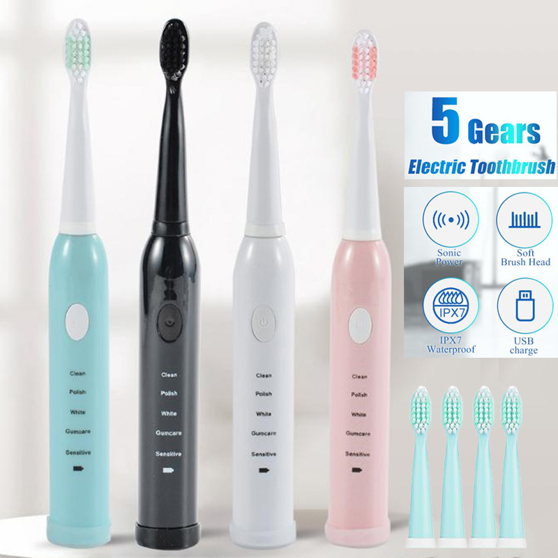 Electric Toothbrush  Wave Rechargeable Top Quality Smart Chip Toothbrush Head  With Travel Case
