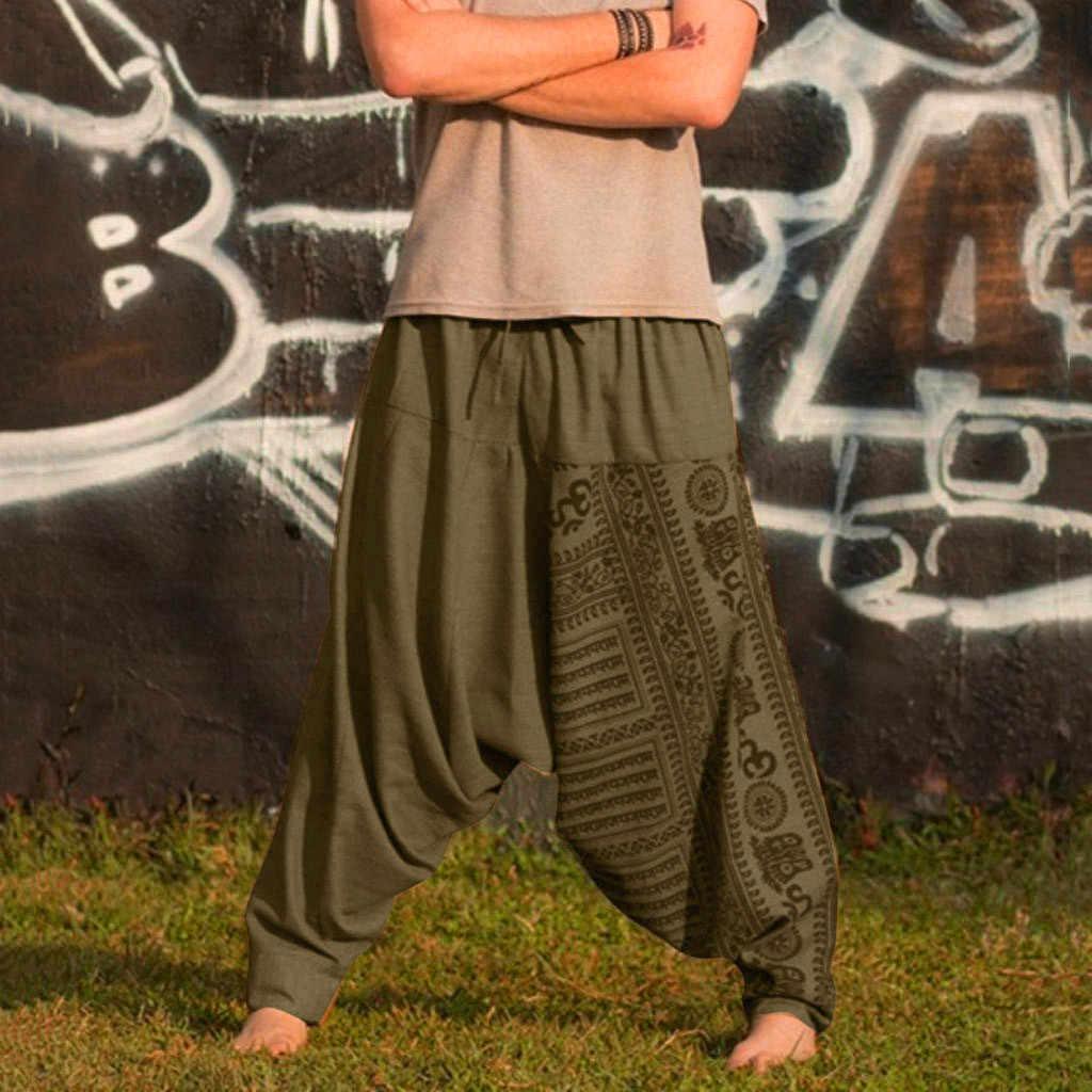 Erkek harem pantolon pamuk keten festivali Baggy Boho pantolon Retro çingene pantolon çalışma Drop-Crotch uzun Trouse baggy spodnie meskie
