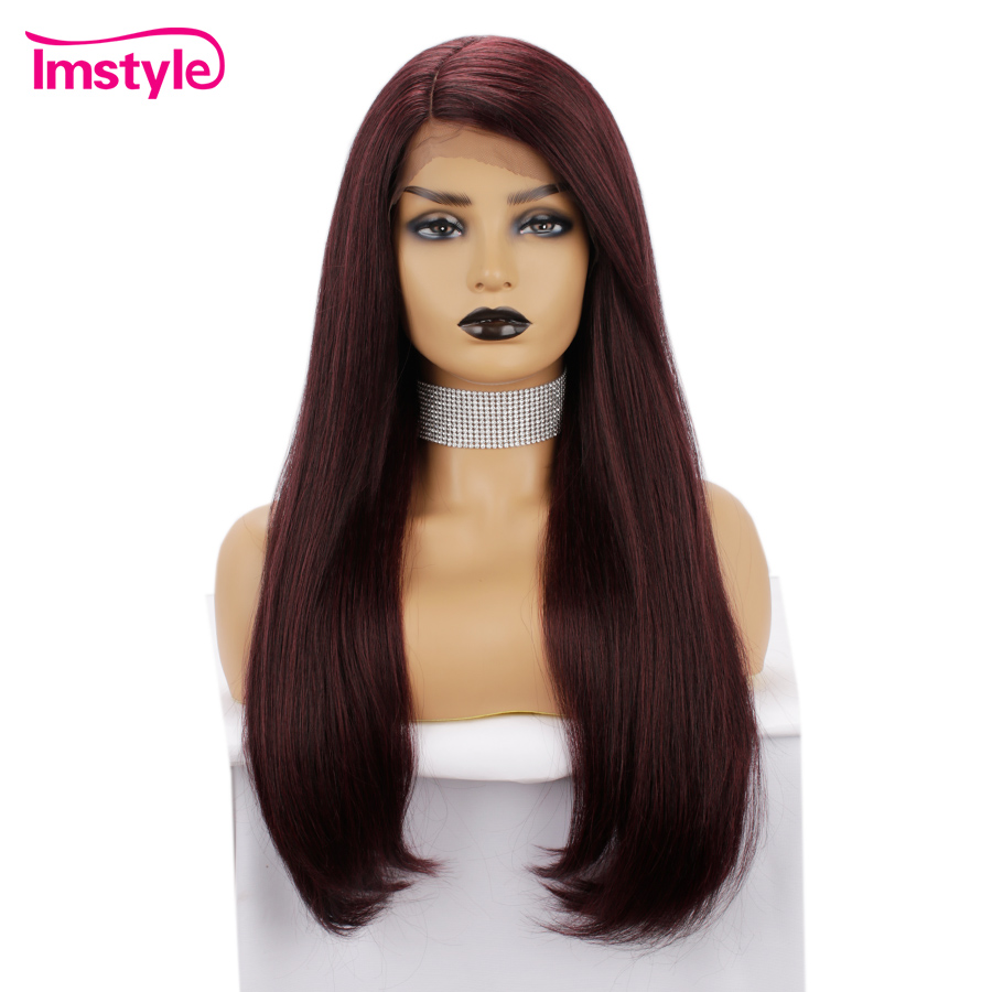 Imstyle Red Synthetic Lace Front Wigs For Black Women Straight Long Wig High Temperature Fiber Natural Hairline Glueless Wig