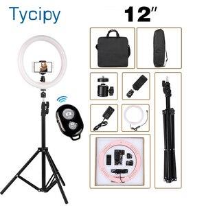 """Image 1 - 12 """"LED anneau lumière photographie Dimmable anneau lampe pour vidéo en direct ringlight avec trepied ue/US avec 110CM trépied support + 2 sac"""
