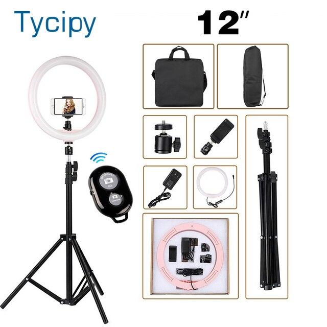 """12 """"LED anneau lumière photographie Dimmable anneau lampe pour vidéo en direct ringlight avec trepied ue/US avec 110CM trépied support + 2 sac"""