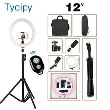 """12 """"led anel de luz fotografia pode ser escurecido anel lâmpada para vídeo ao vivo ringlight avec trepied ue/eua com 110cm tripé suporte + 2 saco"""