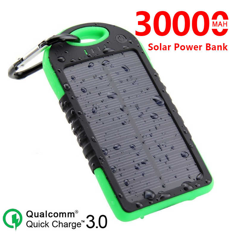Solar 30000mAh Power Bank Tragbare Solar Panel Dual USB Batterie Pack Lade LED Batterie Ladegerät Für smart telefon Schnelle lade