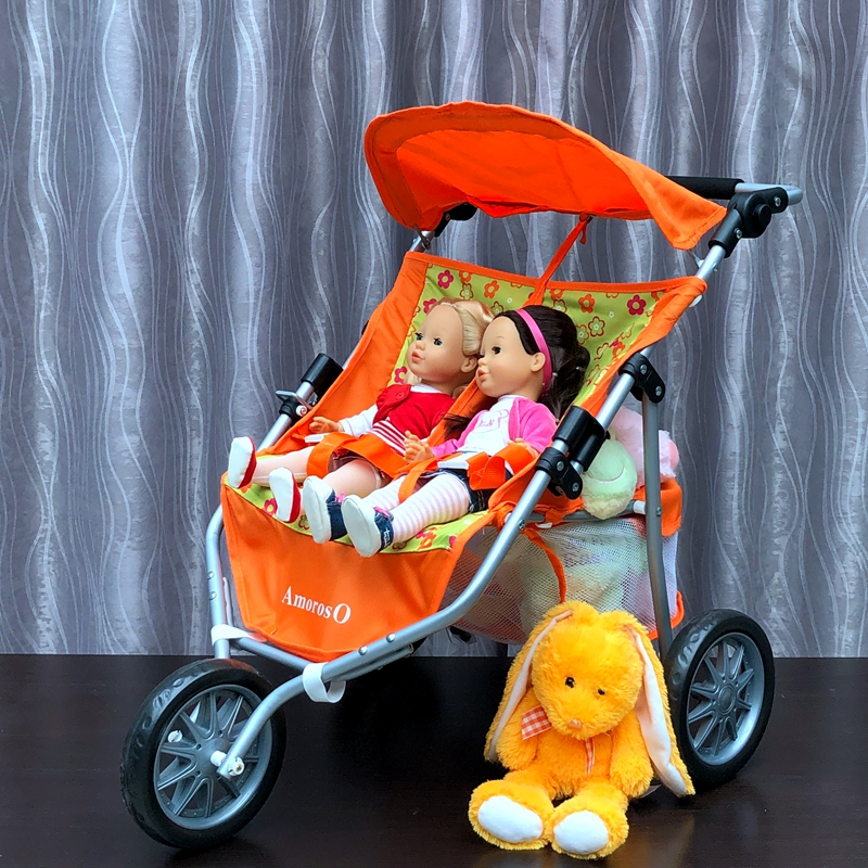 Children's Toys Twins Doll Stroller Two-seat Three-wheeled Stroller Girl Play House Toy Trolley Gifts Brinquedos Juguetes