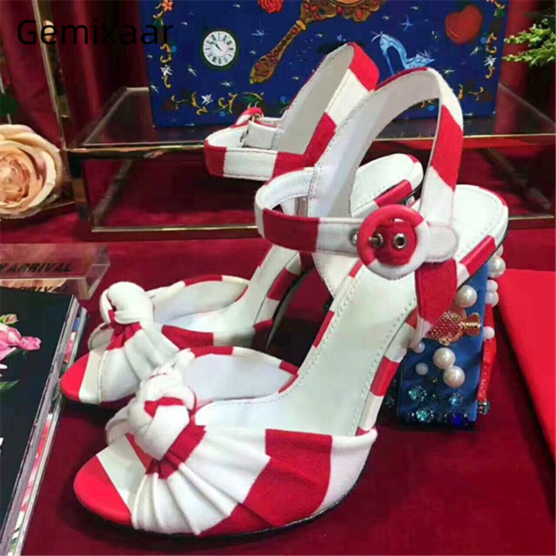 Rayé nœud papillon bride à la cheville gladiateur sandales femmes étoile de mer coquille perle diamant talon épais 2020 nouvelles chaussures d'été femme