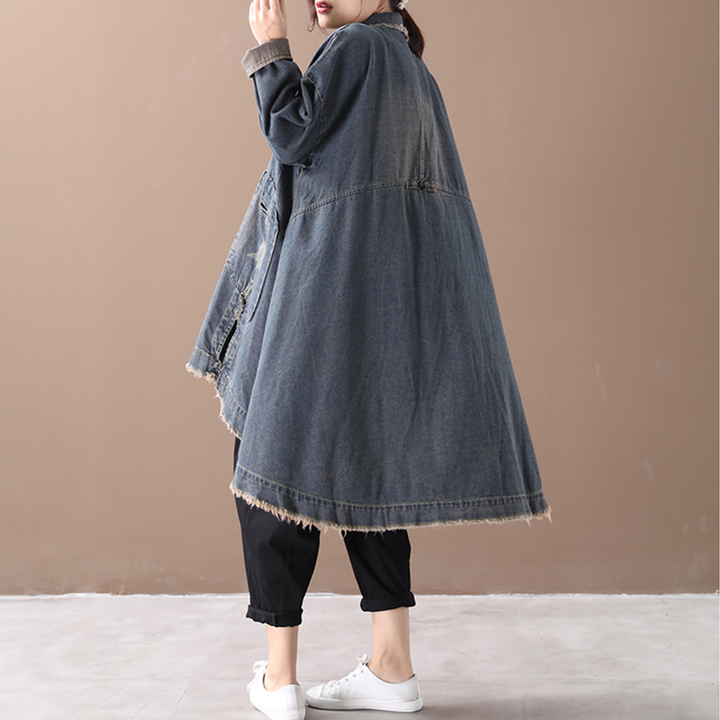 Image 5 - CHICEVER Vintage Korean Denim Women Dresses Lapel Collar Long  Sleeve Asymmetrical Loose Dress Female 2020 Autumn Fashion NewDresses