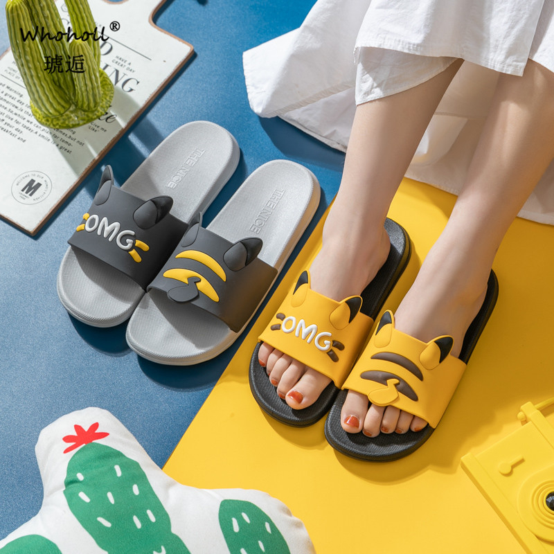 Cute Pikachu Slippers Summer Men Slides Women Slippers Couple Lover Casual Bathroom Home Indoor Non-slip Female Solid 6 Colors