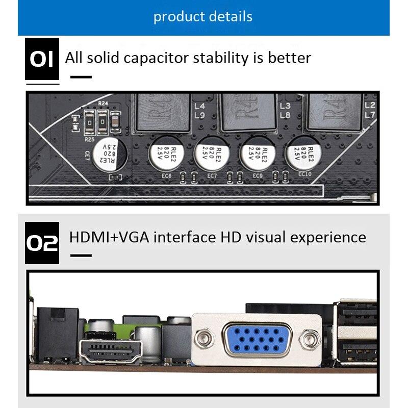 H61 LGA1155 Praktische Desktop Computer Mainboard mit SATA 2,0 USB2.0 DDR3 1600MHz 16G Dual Kanal Motherboard für Core i3 I5 ICH