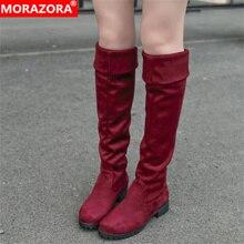 MORAZORA Inverno nuovo arriva alta qualità delle donne stivali scarpe di moda sexy flock caldo e le donne in stivali alti al ginocchio donna