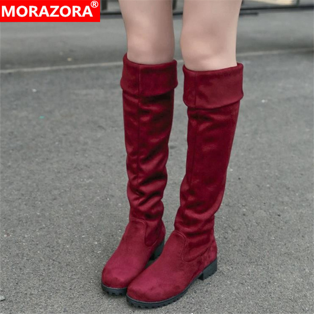 MORAZORA Winter new arrive high quality womens boots fashion shoes sexy flock warm well women knee high boots woman