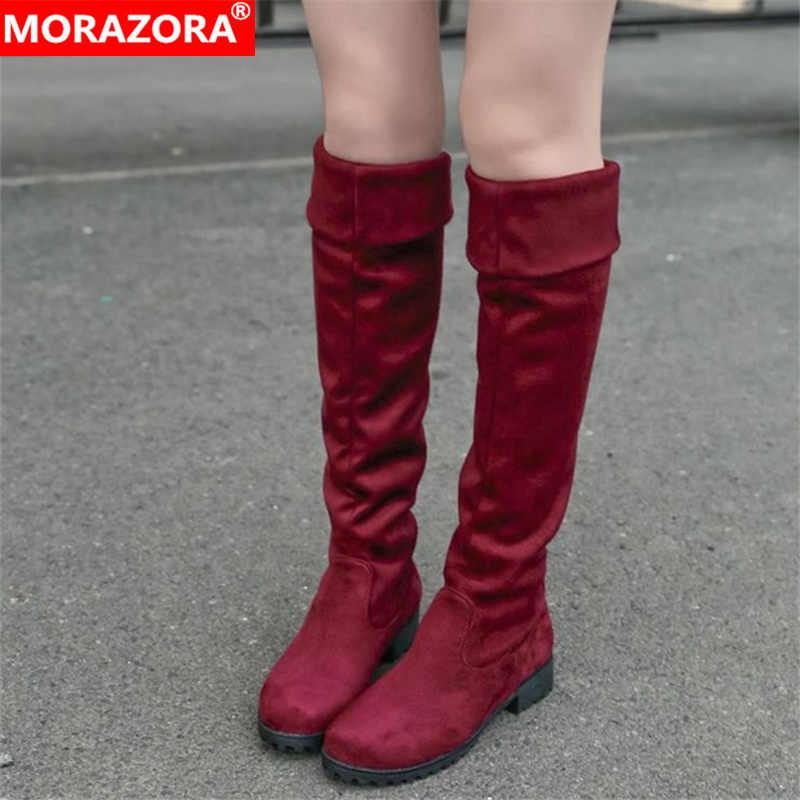 MORAZORA kış yeni gelmesi yüksek kaliteli bayan botları moda ayakkabılar seksi akın sıcak iyi kadın diz yüksek çizmeler kadın