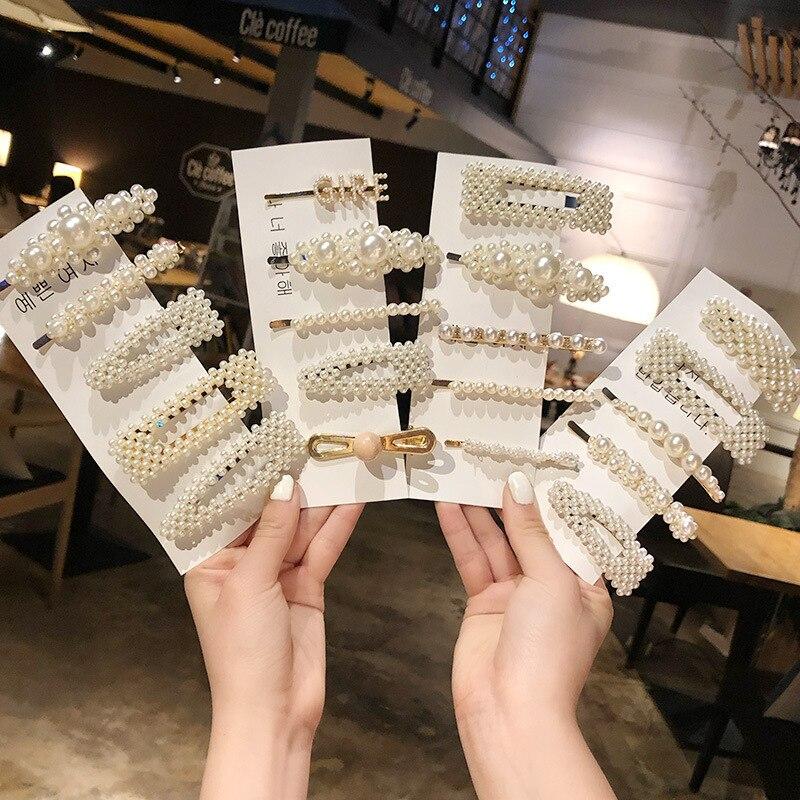 Ins Fashion 1Set Women Girls Elegant Pearls Hair Clips Sweet Headwear Hair Ornament Hairpins Barrettes Headband Hair Accessories