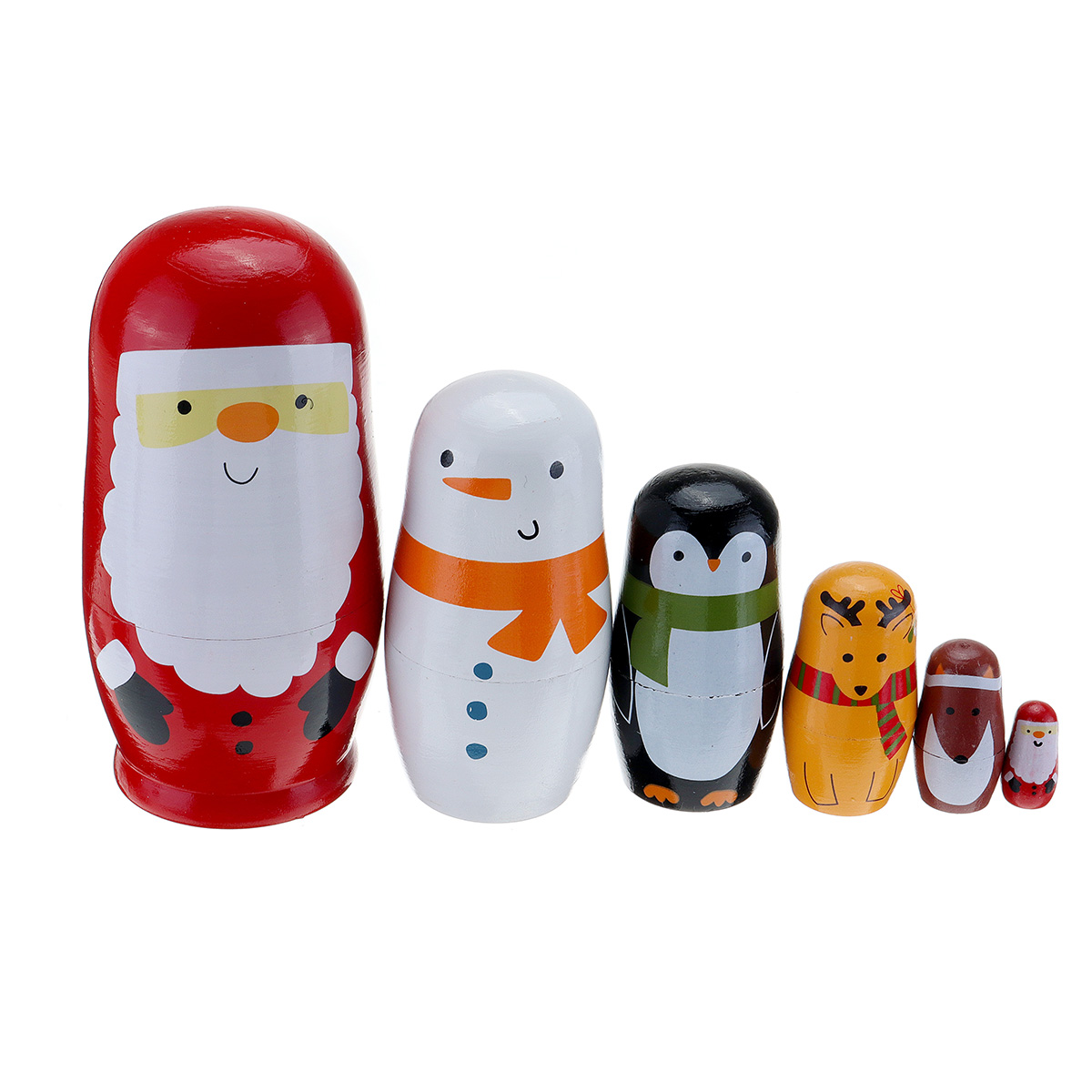 Wooden Animal Russian Doll Matryoshka Toy Decor Nesting Dolls Set Kids Gift S