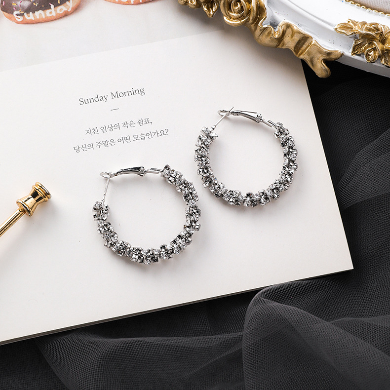 Hfff6d5560e054ad380e847c725575f54O - Fashion Simulated Pearl Statement Big Small Hoop Earrings for Women Exaggerate Circle Earrings Personality Nightclub Jewelry