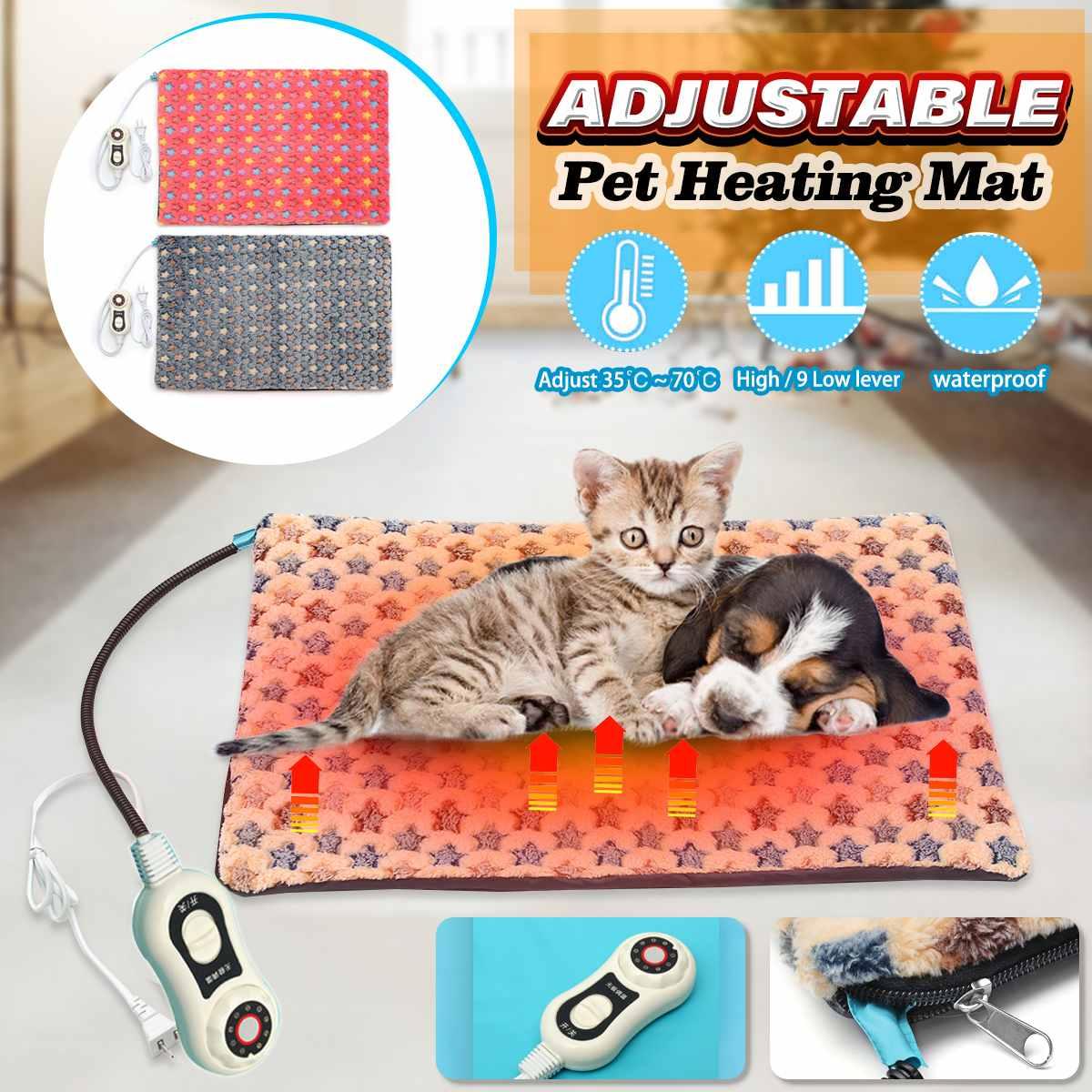 40x60cm 10 Level Pet Dog Cat Waterproof Electric Heating Pad Body Winter Warmer Mat Bed Blanket Animals Heater Random Sent