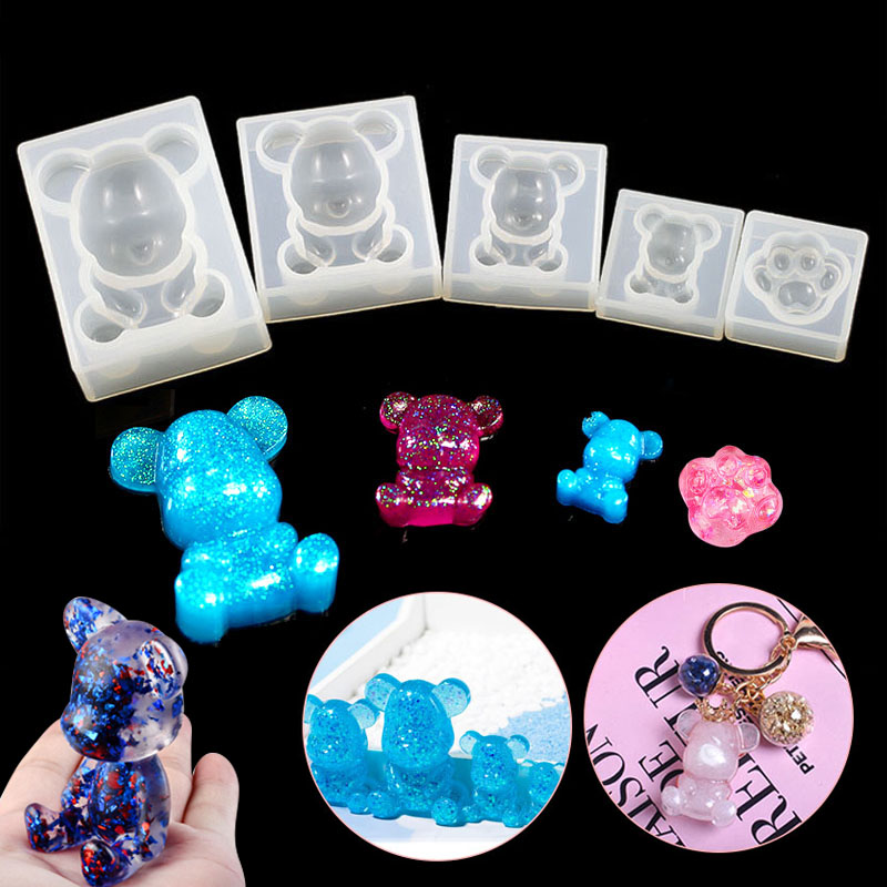 1pc Cute Fashion  Silicone Bear Paw Print Shape UV Molds For Resin Jewelry DIY Mold Resin Molds For Jewelry  DIY Wedding Party