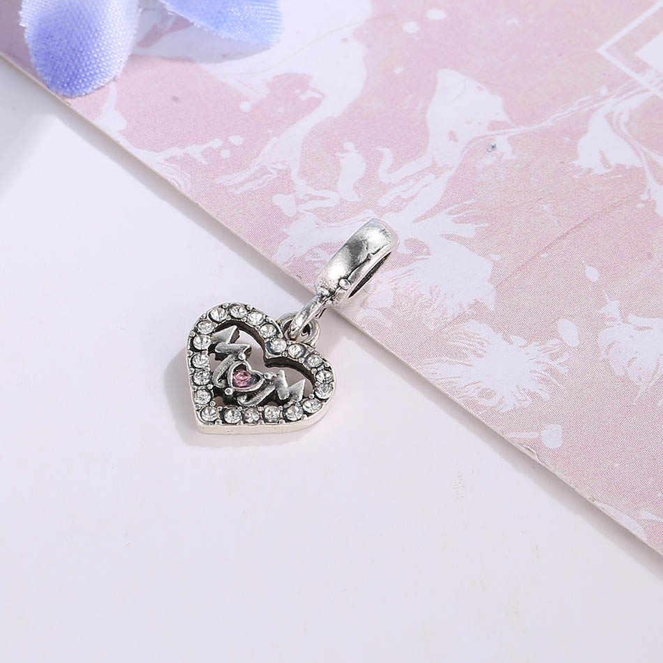 Посеребренное сердце любовь мама с кристаллами кулон шарик Шарм Fit Pandora браслет DIY ювелирные изделия