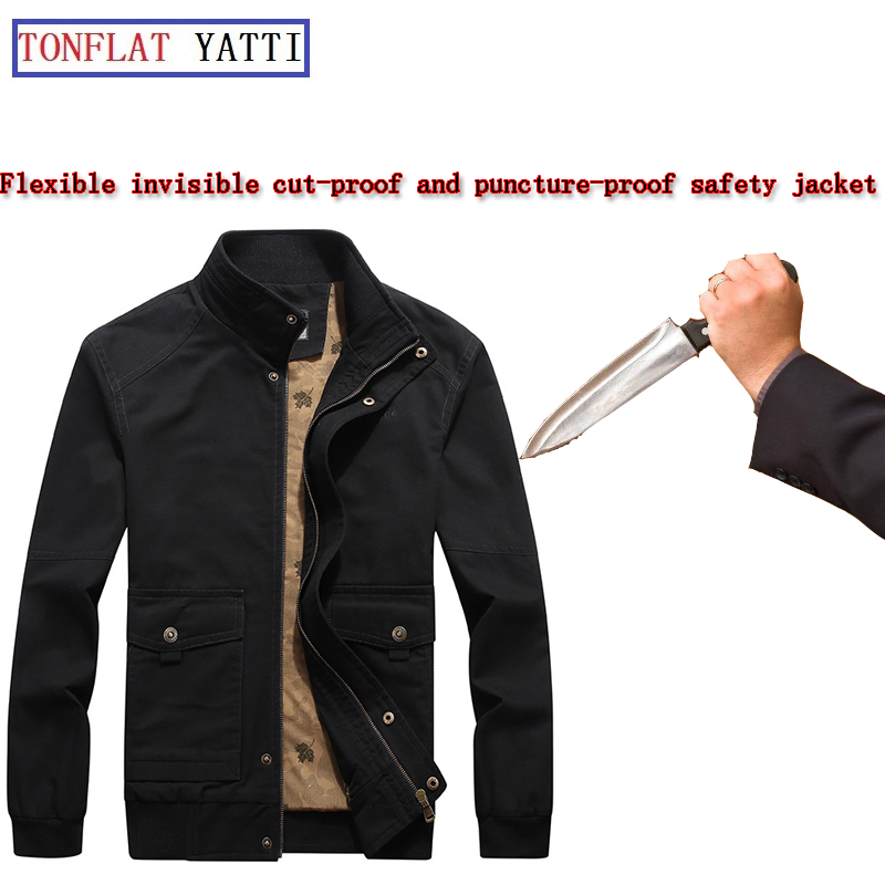 Self Defense Anti-stab And Anti-stab Men's Casual Urban Overalls Invisible Multi-pocket Stand Collar Police Fbi Security Jacket