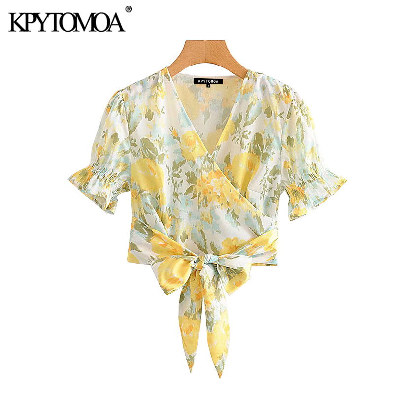 Vintage Stylish Floral Print Cropped Blouses+Shorts Women 2020 Fashion V Neck Bow Tied Wrap Tops Beach Sets Side Zipper Shorts