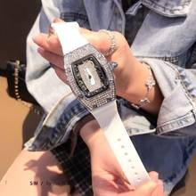 Famous Brand RM Richard Wine Barrel Silicone Strap Fashion Diamond Personality Woman Luxury Ladies Watches Quartz Wristwatch