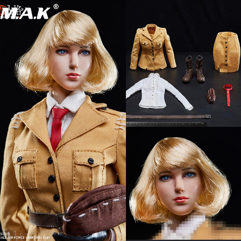 1/6 <font><b>Sexy</b></font> <font><b>Female</b></font> Solider Identity V Women's Air Force Head Clothes Set For TBLeague S10D seamless large breast body fan toys image