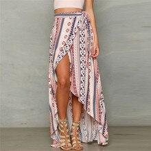 Юбки для женщин Женская Высокая мода богемный принт молния полосы Сплит Тюль Женская миди юбка Повседневная и элегантная мягкая