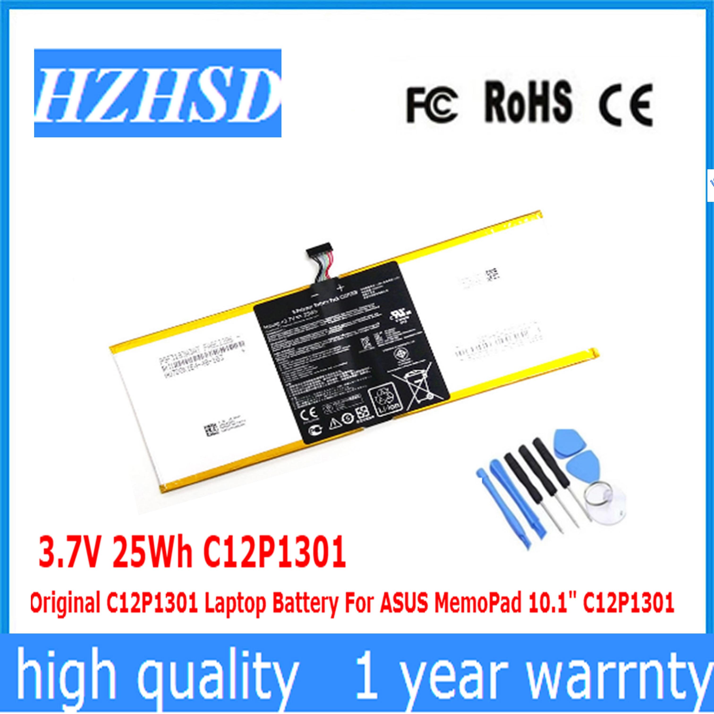 3.7V 25Wh C12P1301 Original C12P1301 Laptop Battery For ASUS MemoPad 10.1