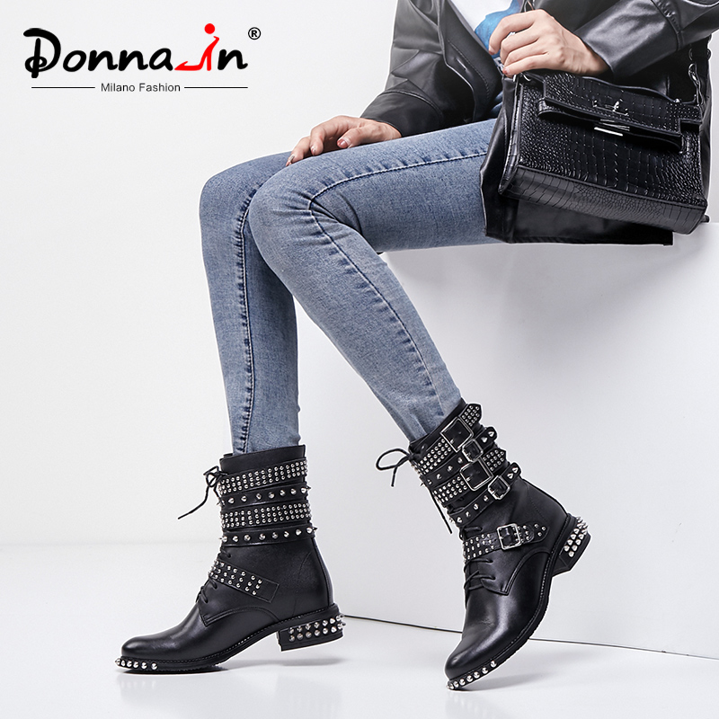 Donna-in 2020 Black Rivet Motorcycle Boots Women Genuine Leather Fashion Gothic Punk Shoes Lace Up Mid Heels Autumn Winter Boots