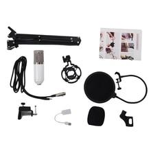 BM800 Microfono A Condensatore Kit Studio Sospensione Boom Scissor Braccio Scheda Audio Bianco