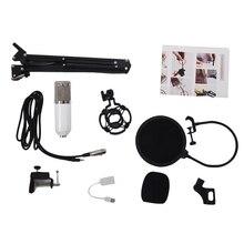 Bm800 kit microfone condensador estúdio suspensão lança scissor braço placa de som branco