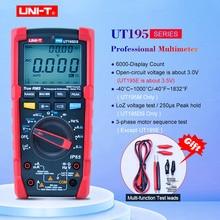 Multímetro Industrial UNI T UT195E/UT195M/UT195DS, resistente al agua, rango automático, valores eficaces auténticos, voltaje de corriente AC DC con relación de trabajo LoZ ACV