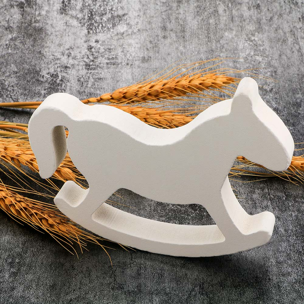 Figurines & Miniatures White Wooden Rocking Horse Trojan Wedding Ornament Home Decor Crafts Kids Toys Drop Shipping