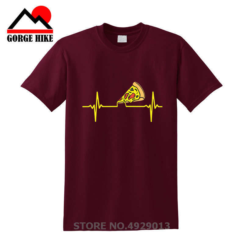 New Food Enthusiasts Funny T-Shirts Geek Delicious Bacon Pepperoni Cheese Sauce Pizza Heartbeat T Shirts Men Homorous Maths Tshi image