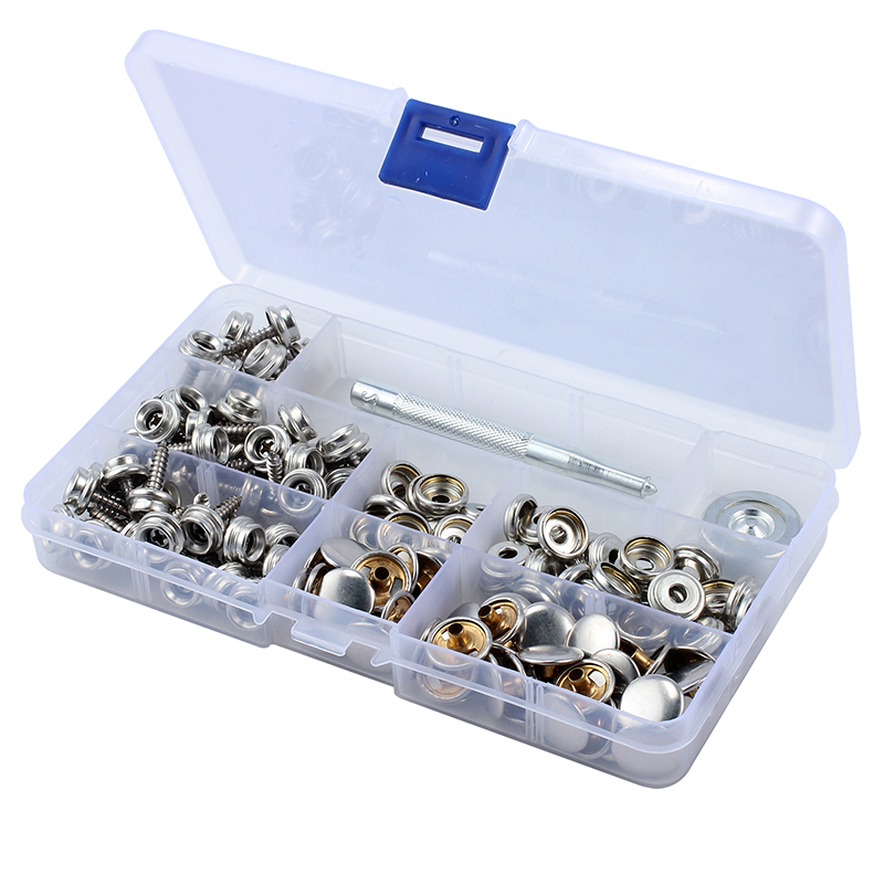 152Pcs Stainless Steel Push Button With Tool Snap Fastener Screw Kit For Boat Cover Caravans Leather Jackets Clothing Supplies