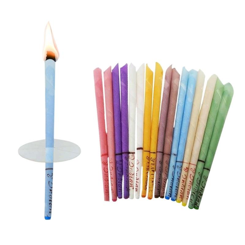 14-20-50- 100 штук ароматерапии уха свечи тихий бергамот рог с вилкой уха обслуживания соответствующие лоток