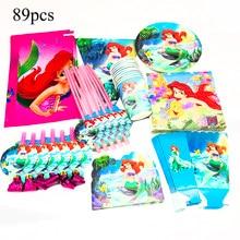 89 pces ariel sereia descartáveis utensílios de mesa pequena sereia decorações de festa sereia ariel toalhas de mesa convites palhas