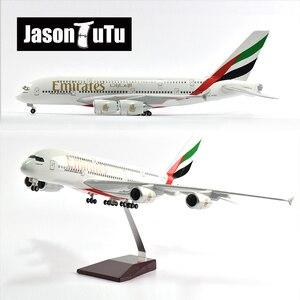 JASON TUTU 46cm United Arab Emirates Airbus A380 Aircraft Airplane Model 1/160 Scale Diecast Resin Light and Wheel Plane Gift
