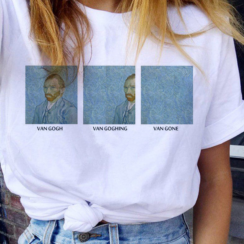 Van Gogh Women T Shirt Funny 90s Aesthetic Ullzang Tshirt Vintage Harajuku T-shirt Female Korean Style Fashion Tops Tees