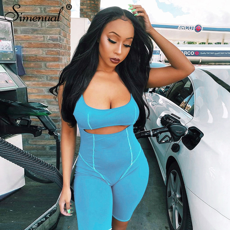 Simenual Casual Active Wear Bodycon Rompers Women Sleeveless Hollow Out Biker Shorts Playsuit Sporty Workout Summer Playsuits