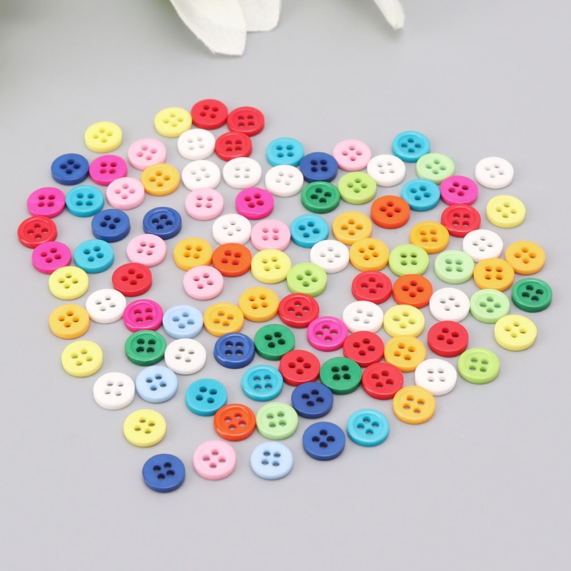 100Pcs 4 Holes Mixed Color Round Resin Buttons Fit For Sewing And Scrapbook 9mm 95AE