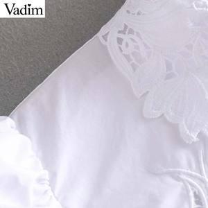 Image 5 - Vadim kobiety haft bluzka z wycięciami urząd nosić długi rękaw puff biała koszula stylowe damskie topy blusas mujer LB442