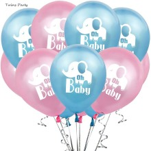 Twins Party 10Pcs 12inch Oh Baby Elephant Balloons Children Birthday Decoration Blue Pink Shower