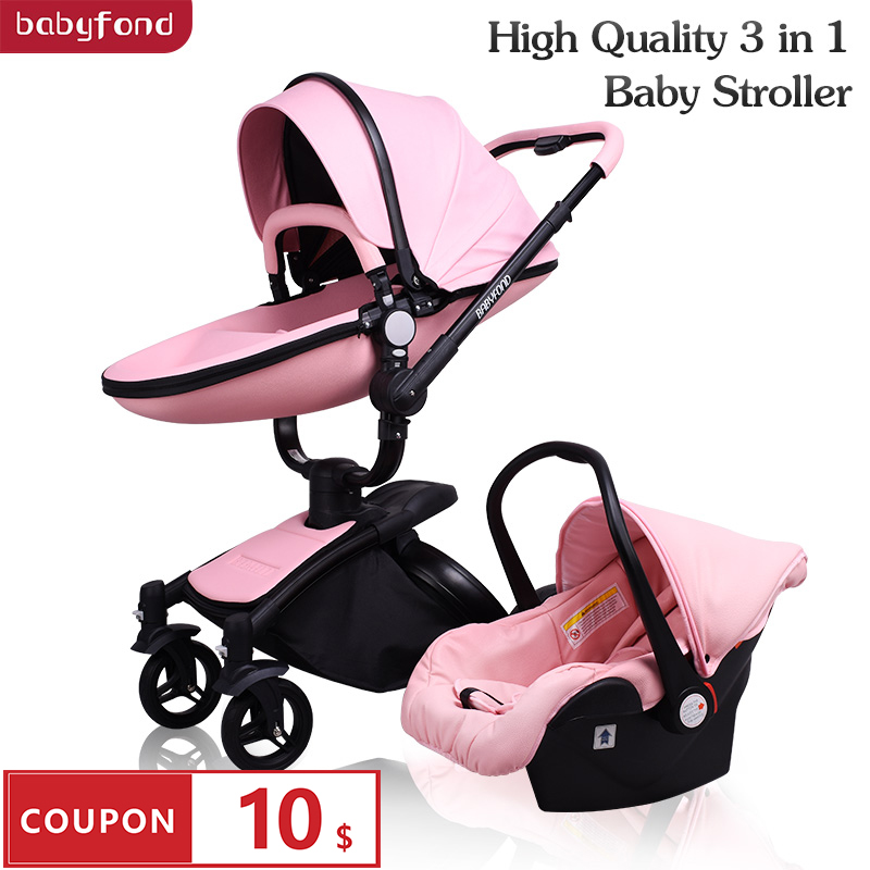 Free Shipping Babyfond Luxury Baby Stroller 3 In 1 2019 New Color European Pram Suit For Lying And Seat Aulon