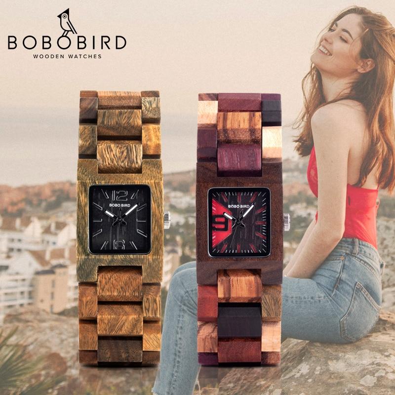 BOBO VOGEL 25mm Kleine Frauen Uhren Holz Quarz Armbanduhr Uhren Beste Freundin Geschenke Relogio Feminino in holz Box