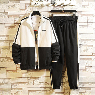 Tracksuits Mens Sport Set Suits Polyester Sweatshirt 2019 Spring Jacket + Joggers Pants Casual Men Track Sportswear Fitness